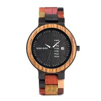 LinTimes Male Colourful Wooden Quartz Watch with Calendar Pastorale Style Wristwatch Ornament Gift