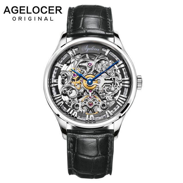 AGELOCER Luxury brand Clock Men Automatic Mechanical Watch Skeleton Military Relogio Male Montre Men Watches Relojes Hombre