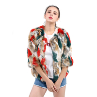 Colorful Women Winter Faux Fur Jacket Coat Slim Short O Neck Five Point Sleeve Female Faux Fur Coat Warm Soft Ladies Fox Fur Coa