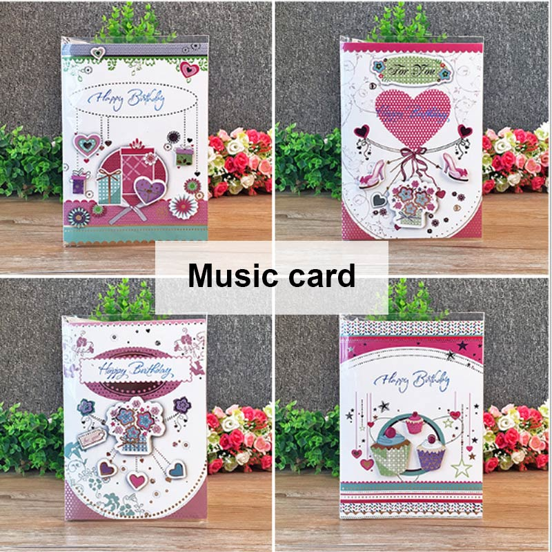 3D Creative Card Birthday Wishes Best Wishes For Piano Music Stereo Paper Postcards Pop Up Tickets For Birthday Express Artifact image