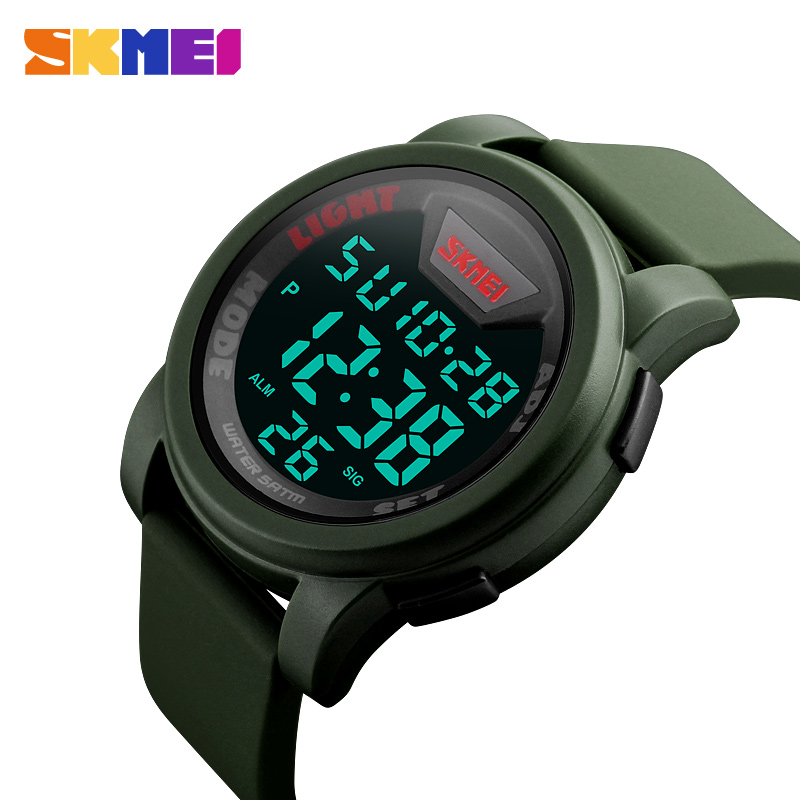 SKMEI Sports Watches Men Silicone Strap Waterproof Alarm Digital Wristwatches LED Display Chronograph Relogio Masculino 1218
