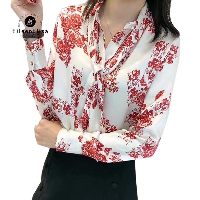 Femmes Floral impression Blouse cravate col à manches longues chemise soie Blusas Femininas chemise d'été Style hauts