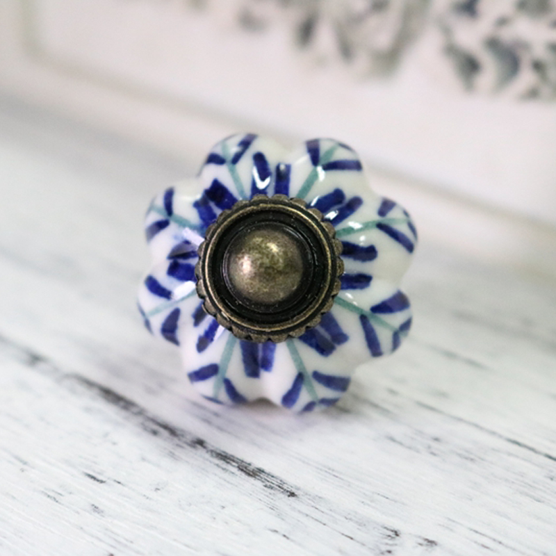 1x blue leaf hand painted ceramic pumpkin knobs cupboard for Painted ceramic cabinet knobs