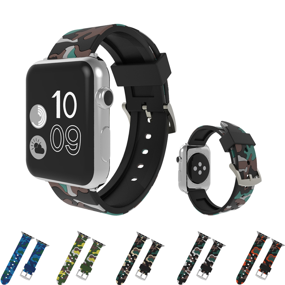 port silicone bracelet for Apple watch band/strap 42mm 38mm Iwatch series 3 2 1 wrist belt Camouflage watchband + metal buckle sport silicone band strap for apple watch nike 42mm 38mm bracelet wrist band watch watchband for iwatch apple strap series 3 2 1