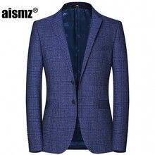 Aismz Hight Quality Mens Blazers Spring Autumn Winter Casual Business Blue Plaid Jacket Blazer Masculino Coats Male Suits