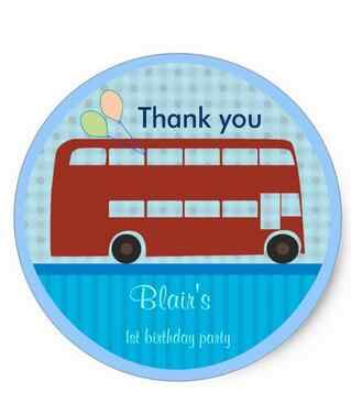 1.5inch Birthday Stickers London Bus Classic Round Sticker