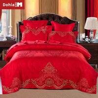 Dohiammk מצעים קובע חתונה בסגנון סיני 6 יחידות ערכת כיסוי בשמיכה בחדר שינה מלכותי אדום אקארד סאטן בצפיפות גבוהה 2 גודל