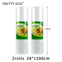 PRETTYSEAL Stretch film vacuum packing BPA free 100%food grade silicone 2 rolls 28*15m reusable zip silicone food containers