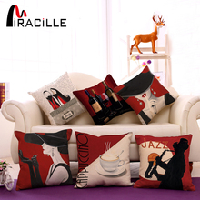 Sexy Lady Cushions Cotton Linen Square Coffee House Chair Waist Pillows Jazz Home Living Room Decorative Pillows No Filling