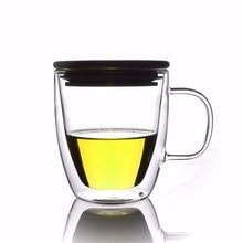 1x500 мл термостойкая двойная стеклянная чайная кофейная кружка с бамбуковой крышкой-LA3