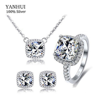 YANHUI 100 925 Sterling Silver Jewelry Sets Luxury 3 Carat CZ Diamant Ring Necklace Earrings Bridal