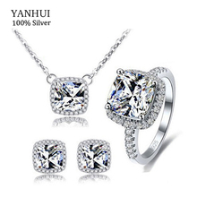 YANHUI 100 925 Sterling Silver Jewelry Rings Sets Luxury 3 Carat CZ Diamant Ring Collier Oorbel