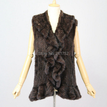 Vintage natural real mink fur knitted vest winter coats with ruffles