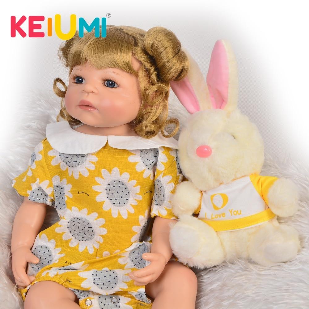 KEIUMI hecho a mano 22 pulgadas muñeca Reborn todo silicona realista recién nacido muñeca para regalo de cumpleaños chico niños Playmate pelo dorado DIY estilo-in Muñecas from Juguetes y pasatiempos    1