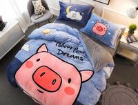Cartoon coral fleece piece set thermal winter thickening flannel bed sheets warm duvet cover FL velvet bedding fitted sheet