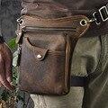 100% couro genuíno saco da cintura de couro ocasional do vintage pequeno crossbody saco do telefone celular bolsa de ombro homens mensageiro sacos de viagem
