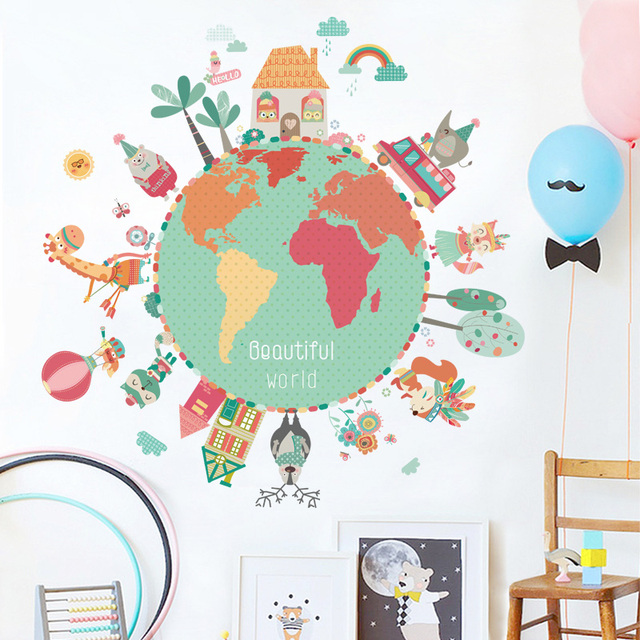 Colorful Animal World Map Wall Stickers For Kids Rooms Diy Baby