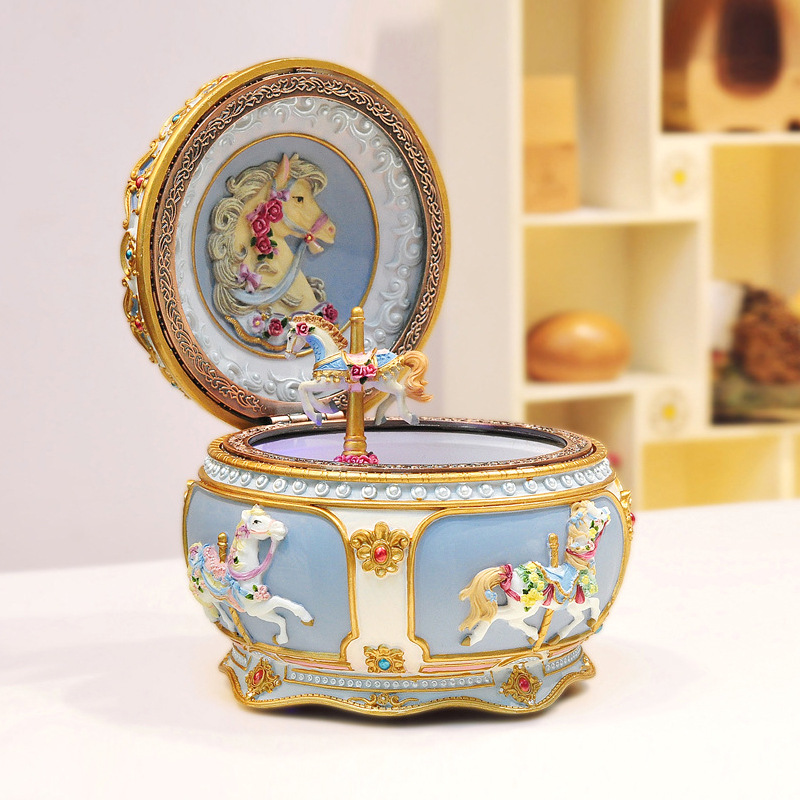 Luminescent Carousel Music Box Music Box Sky City Creative Birthday Gift Resin Valentine's Day Gift Desktop Decoration