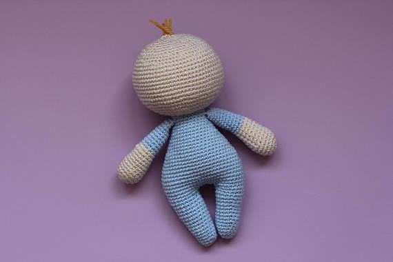 Crochet Handmade  Boy Gift Baby Shower Crochet Toy Soft New Baby  Newborn  Toy Doll Rattle