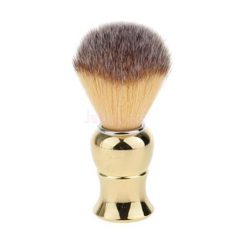 Gold Professional Men Barber Salon Beard Mustache Shaving Grooming Brush Wet Shave Tool - Ultra Dense Hair, Smooth Shaving 1