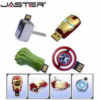 Lecteur flash usb JASTER The Avengers iron man 8G lecteur de stylo 16G Captain America 32G clé usb 64GB lecteur de stylo super héros U disque