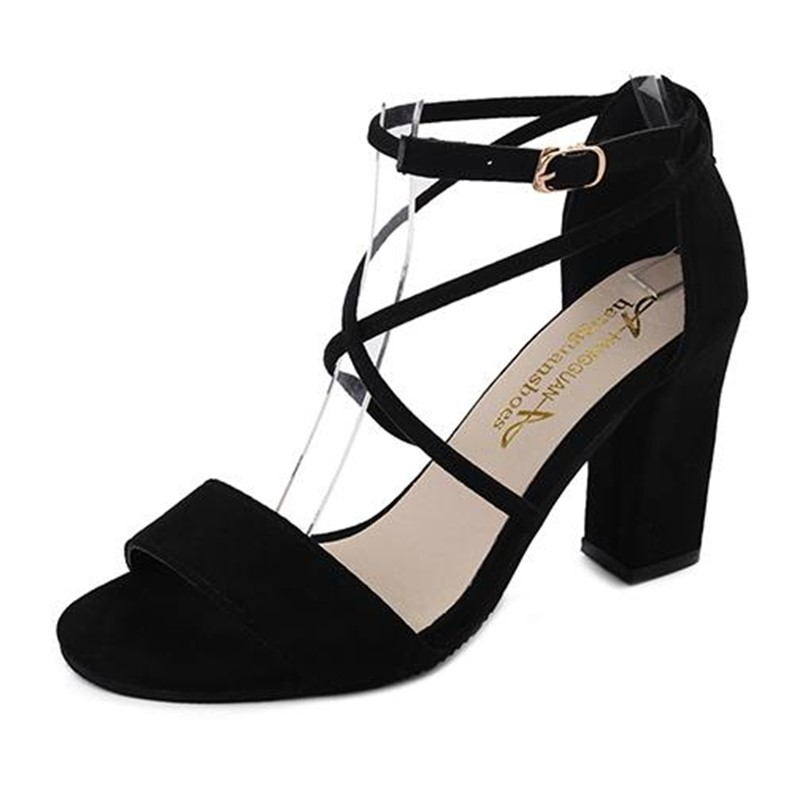 2018 new Summer strap sandals open toe pink sweet Roman shoes black wild thick with high heels shoes female summer tide s022 summer new pointed thick chunky high heels closed toe pumps with buckle ankle wraps sweet sandals women pink black gray 34 40