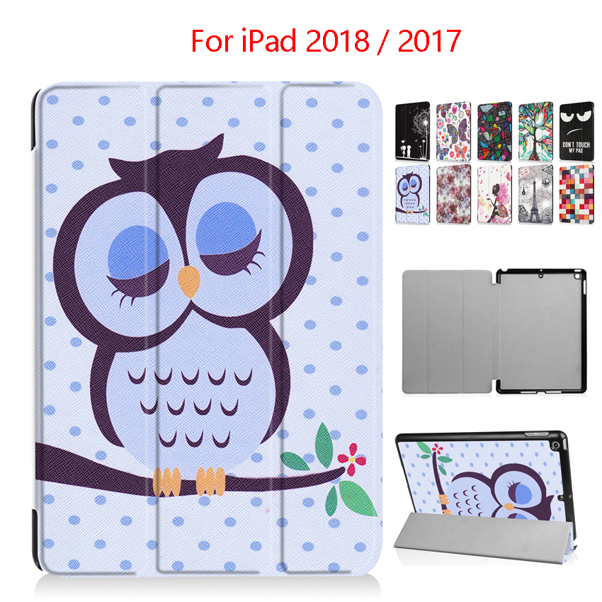 For New iPad 2018 PU Leather Case Cover 9.7 Slim Colorful Print Protective Stand For Apple iPad 2017 a1823 Smart Tablet Fundas