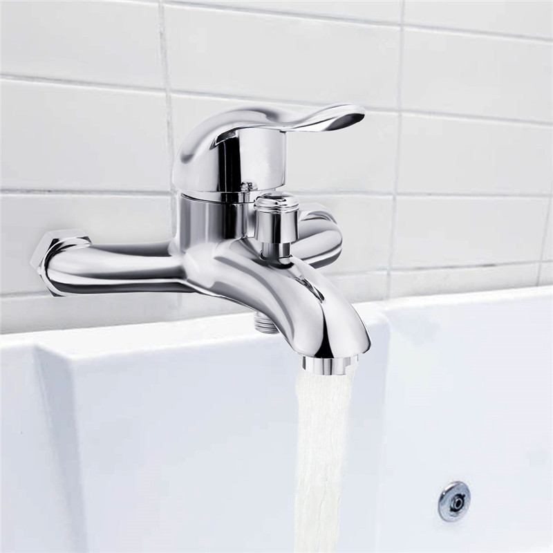 Chrome Polished Wall Mounted Bathroom Faucet Mixer Tap Bath Tub Valve Shower Faucets Single Handle Cold And Hot WaterChrome Polished Wall Mounted Bathroom Faucet Mixer Tap Bath Tub Valve Shower Faucets Single Handle Cold And Hot Water