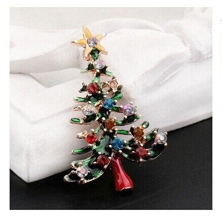 Нежный зеленый цветной эмалью элементы Рождество прекрасный брошь Рождественский Подарок Полный кристалл ювелирные изделия дерево стиль chamrs горячей продажи