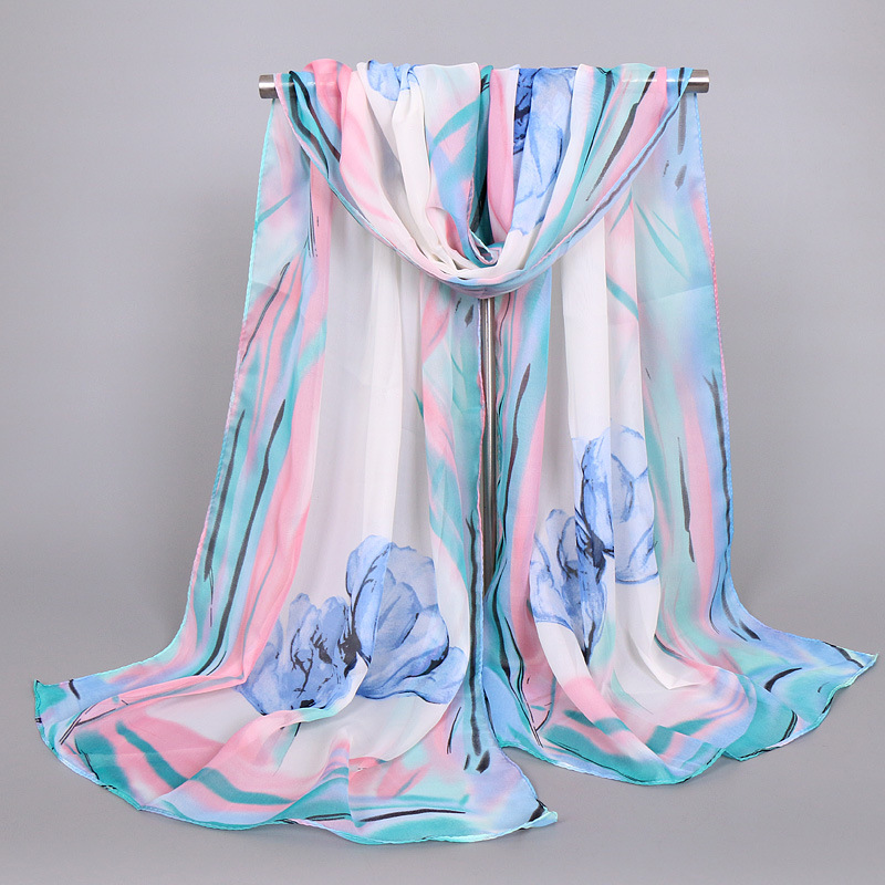 Hot Sale Print Flower Silk Chiffon Scarves Women Wrap Sunscreen Beach Cover Up Long Hijab Bandana Polyester Cape Female