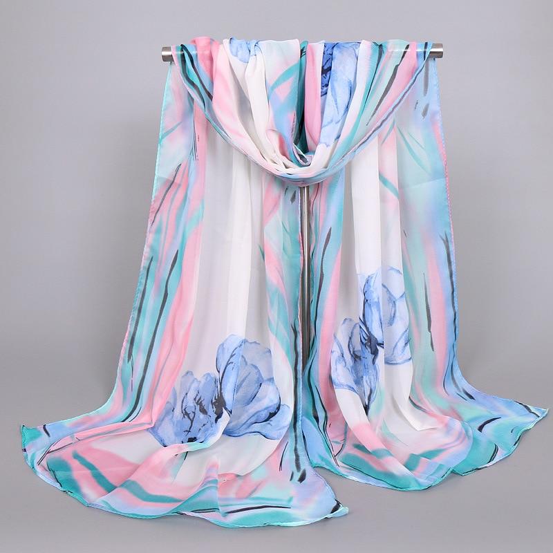 Hot Sale Print Flower Silk Chiffon Scarves Women Wrap Sunscreen Beach Cover Up Long Hijab Bandana Polyester Cape Female