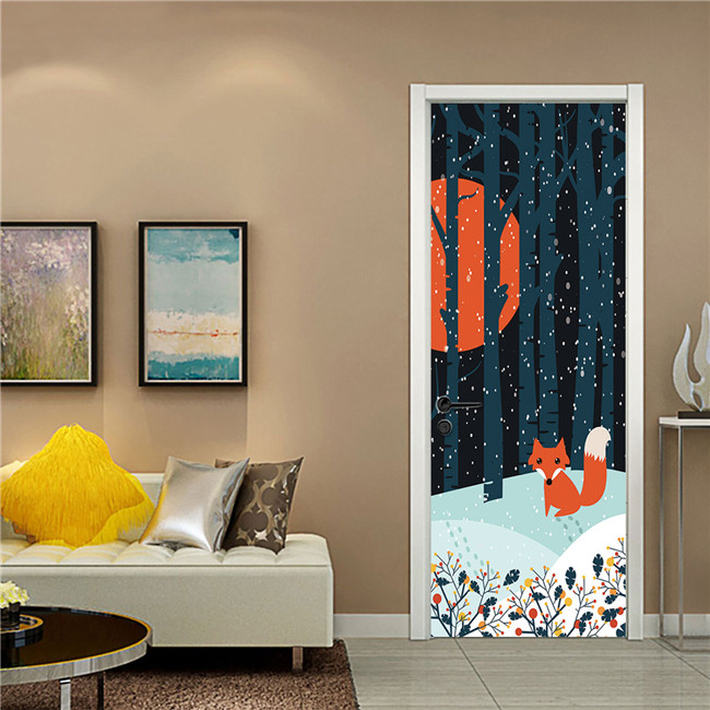 Us 15 15 43 Off Anime Fox Forest Snow Night Door Stickers Self Adhesive Pvc Bedroom Wallpapers 3d Creative Home Decor Door Mural Diy Renew Decal In