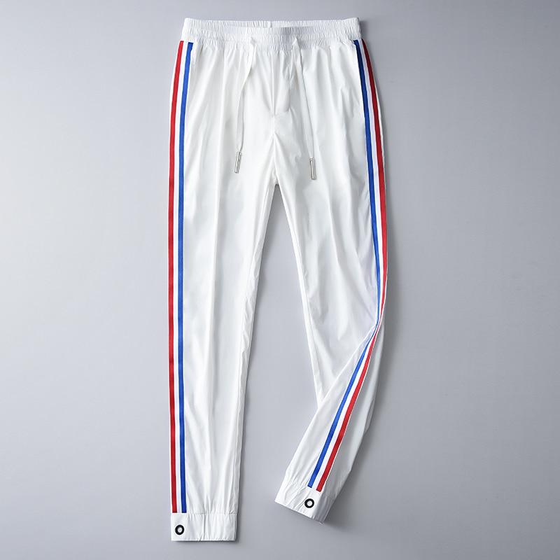 Мужские брюки Minglu, летние мягкие облегающие брюки с  ленточками, контраст цветов, Размер 4XLПовседневные брюки   -