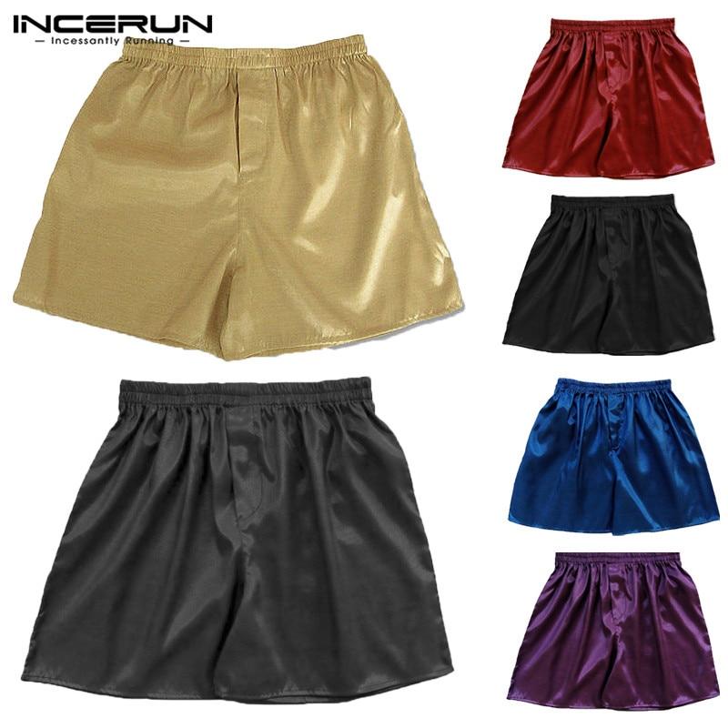 INCERUN 2020 New Silk Satin Men Sleep Boxer Bottoms Solid Lounge Shorts Pajama Sleepwear Underwear Homewear Men Shorts S-5XL
