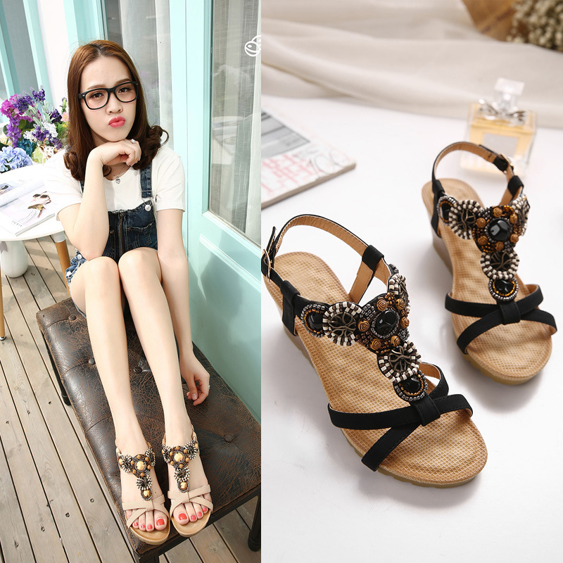 Brand 2019 Bohemia Wedge Women Sandals Summer Vintage Rhinestone Woman Flip Flops Beach Women Shoes big toe sandal