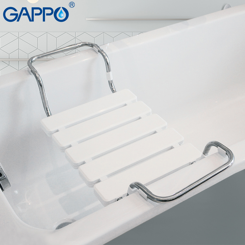 GAPPO Bathroom Chairs & Stools White Bathtub Shower Seat Relax Chair Shower Bench Bath Chair ABS Stainless Steel Shower Seat