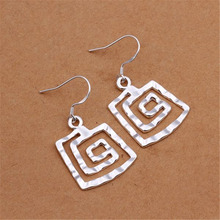 factory promotions E344  wholesale Price Beautiful retro  silver plated  square earring high quality fashion classic jewelry