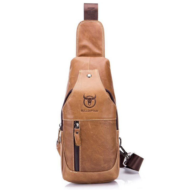 9eef5e91c2 New Fashion Brand Genuine Leather Mens Chest Bag Leisure Tide Male Shoulder  Bag Zipper Travel Crossbody Casual Messenger Bags-in Waist Packs from  Luggage ...