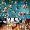 Free Shipping European Style Living Room Sofa Mural Wallpaper Qiangbu Plum Tree Flower And Bird Painting