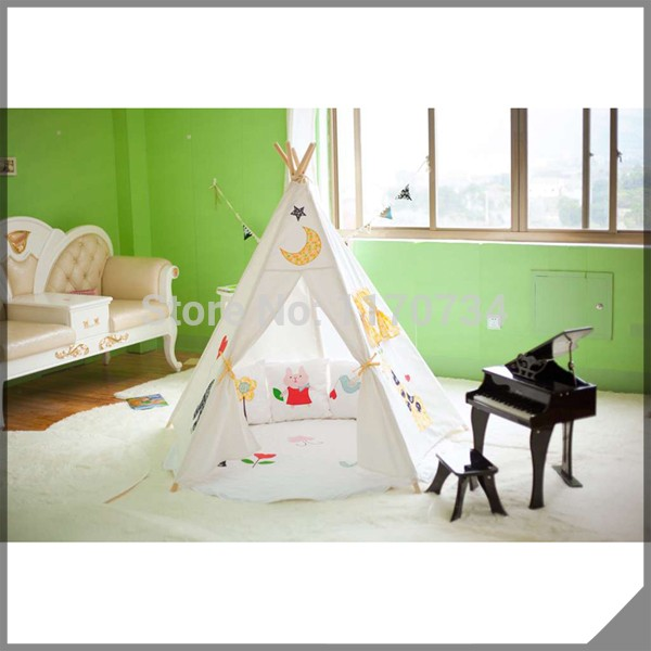100% cotton canvas elephant kids play tent toy tent child teepee indian style hot sale eco friendly tent for kids cotton canvas toys tent