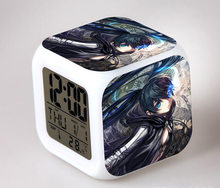 Japanese Anime BLACK ROCK SHOOTER LED 7 Color Flash Digital Alarm Clocks Kids Night Light Bedroom Clock reloj despertador(China)
