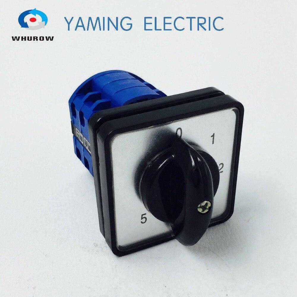 Fábrica comutador 20A 0-5 Posição 3 pólo rotativo cam interruptor de contato de prata Yaming YMW26-20 elétrica/3