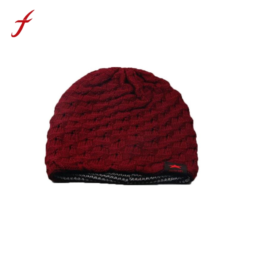2017 New Fashion Winter Skull Men Knit Beanie Reversible Baggy Wool Cap Keep Warm Unisex Hat Leisure Hats For Women female cap men women crochet knit plicate baggy beanie wool blend hat skull winter warm cap fashion hat