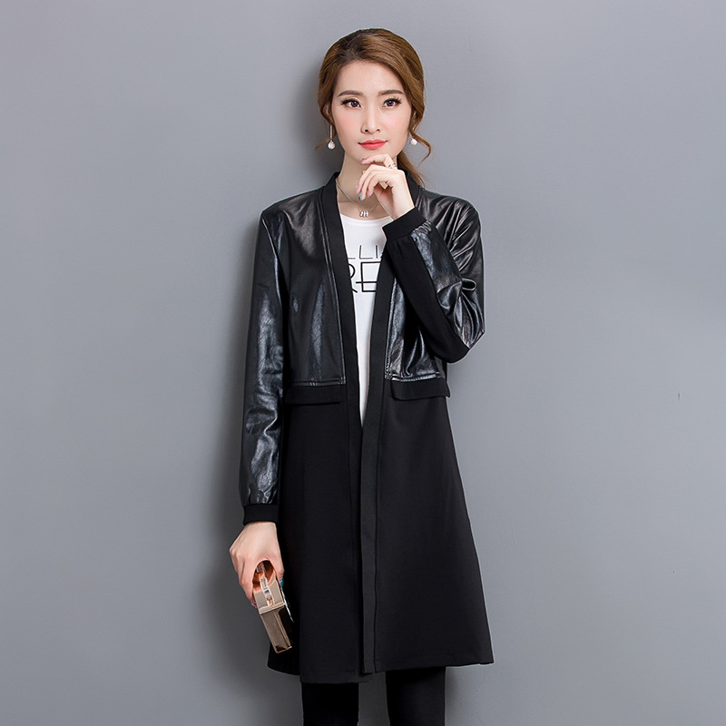 Fashion PU Faux   Leather   Jackets Women 2018 Spring Autumn New Long PU Windbreaker, Korean Women's Casual Large Size Coats A440