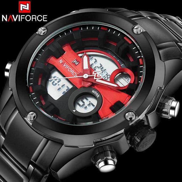 men sport watches NAVIFORCE brand dual display watches for men digital analog Electronic quartz watches 30M waterproof clock