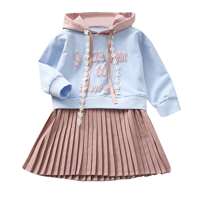 Winter Long Sleeve Girl Clothes Girls Dress Toddler Baby Kids Girls Letter Printed Hooded Princess Dress Clothes Dress S05#F letter print cami dress