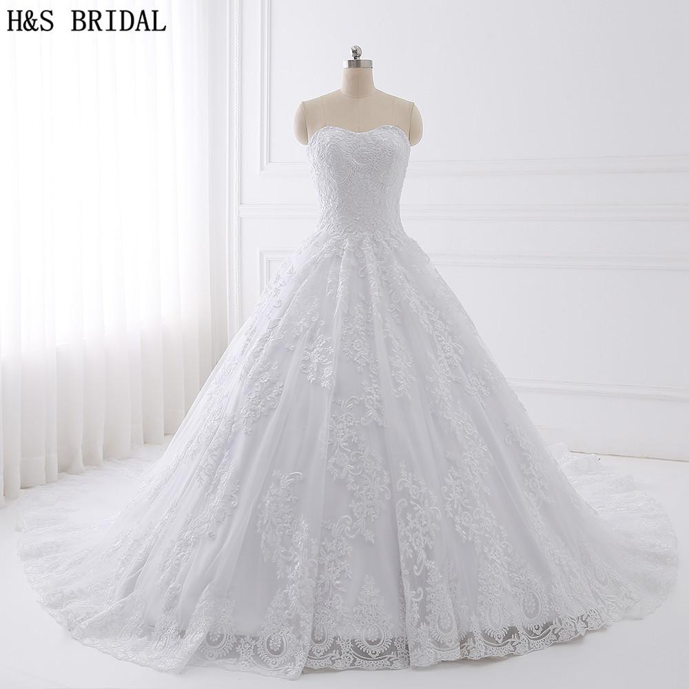US $19.19 19% OFFH & BRIDAL Ballkleid Spitze Brautkleid Real Photo  Brautkleider Vestido De Novias Sweetheart Hochzeitskleid Weiß  Brautkleidwedding