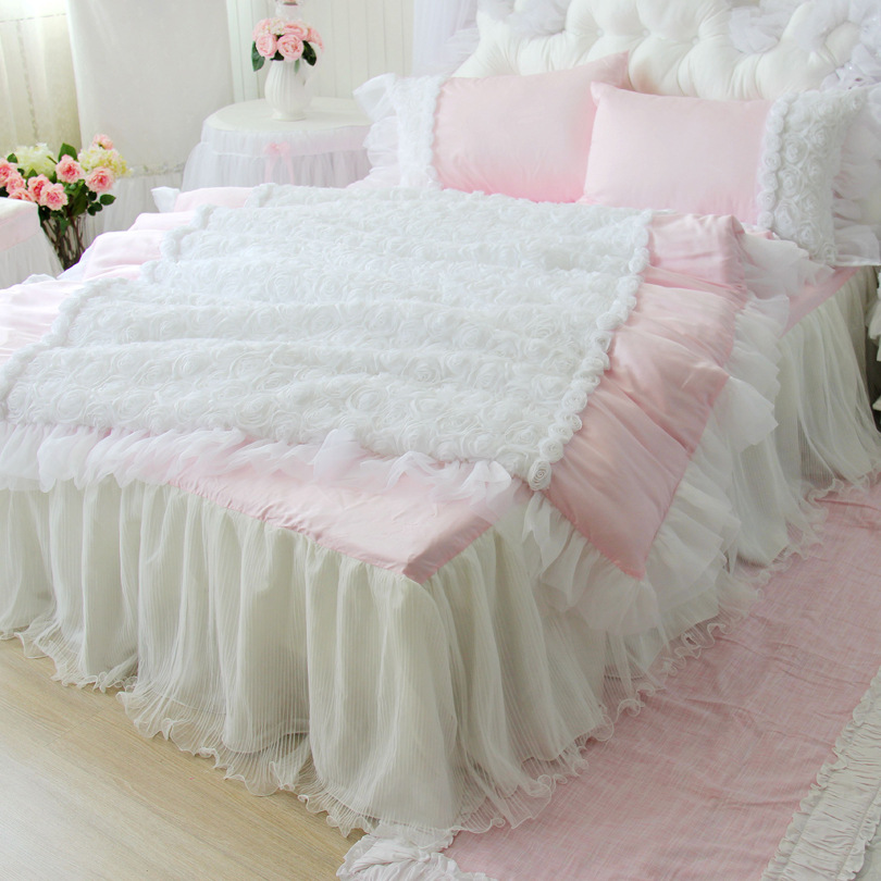 Luxury Lace Silk Bedding Set Large 4Pcs Set Duvet Cover+Bed Skirt+Pillow Case King Queen Full Size Pink Princess Wedding Bed Set