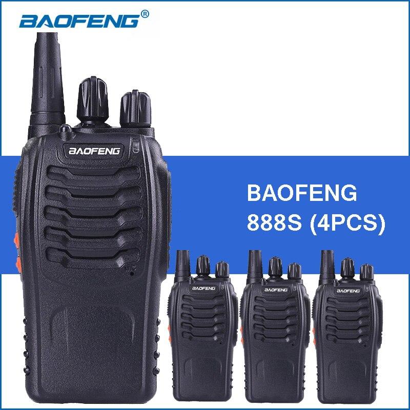 4 pcs/lot Baofeng bf-888S Portable Talkie Walkie UHF 400-470 MHz 5 W 1800 mAh BF 888 S De Poche Two Way Radio Communitor Émetteur-Récepteur