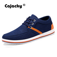 Cajacky Men Classic Casual Shoes Luxury Brand Lace Up Canvas Shoes Black Blue England Style Krasovki